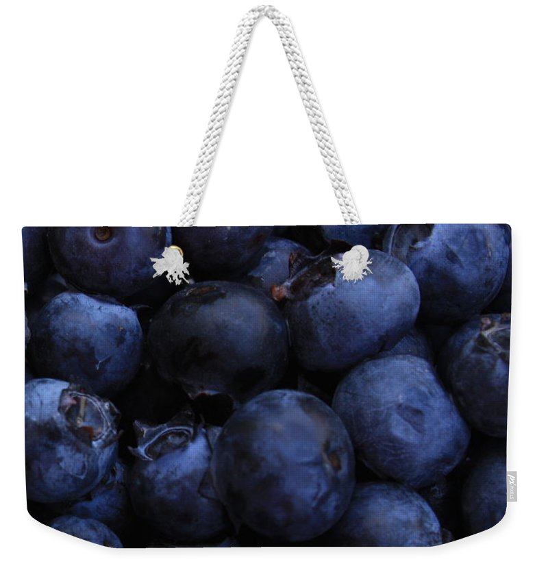 Blueberries Weekender Tote Bag featuring the photograph Blueberries Close-up - Vertical by Carol Groenen
