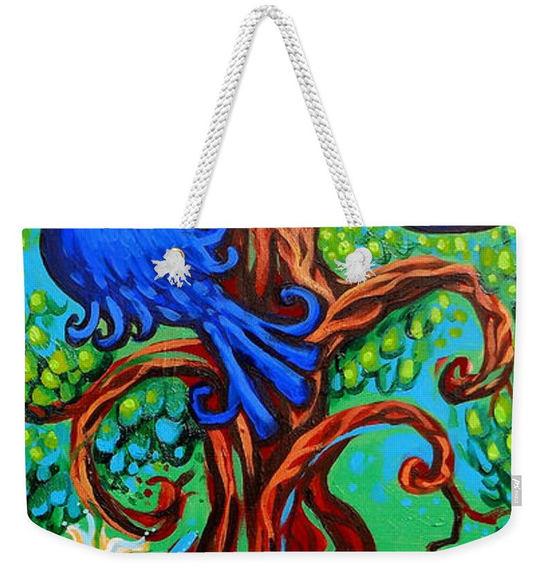 Bluebird Weekender Tote Bag featuring the painting Bluebird In Tree by Genevieve Esson