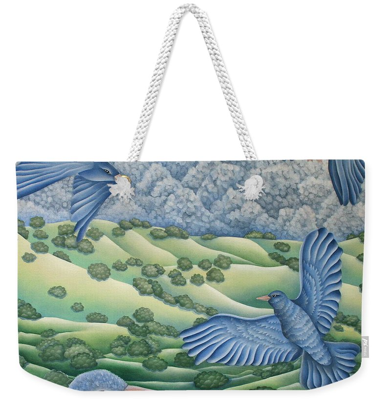 Weekender Tote Bag featuring the painting Bluebirds Of Happiness by Jeniffer Stapher-Thomas