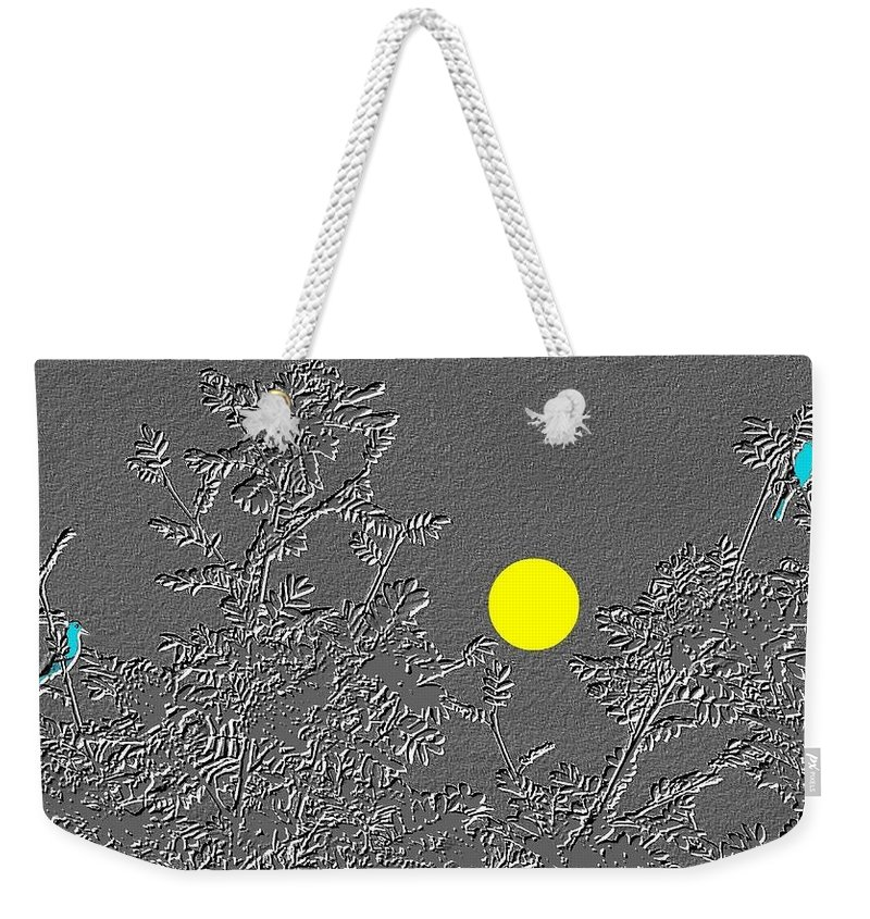 Abstract Weekender Tote Bag featuring the digital art Bluebirds by Will Borden