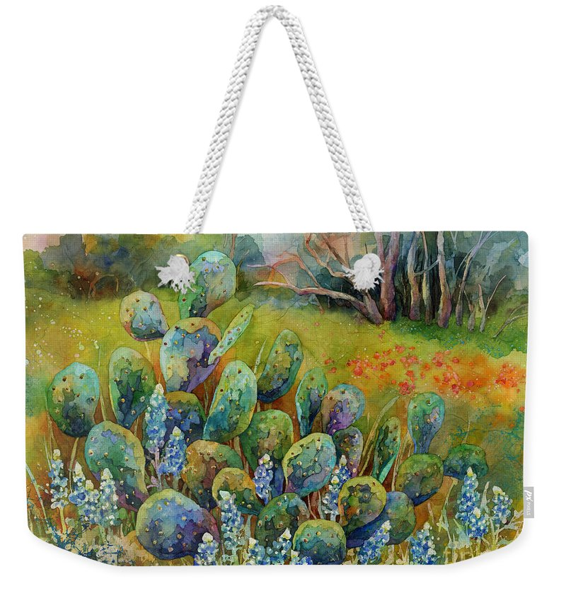 Cactus Weekender Tote Bag featuring the painting Bluebonnets And Cactus by Hailey E Herrera