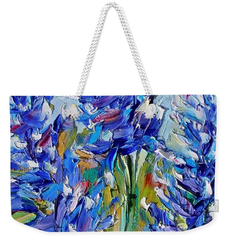 Bluebonnets Weekender Tote Bag featuring the painting Bluebonnets Of Texas by Karen Tarlton
