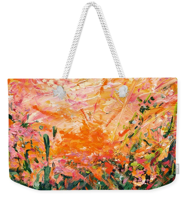 Bluegrass Weekender Tote Bag featuring the digital art Bluegrass Sunrise - Desert A-left by Julie Turner