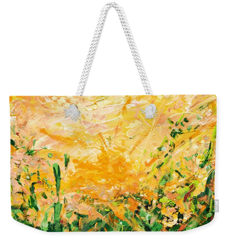Bluegrass Weekender Tote Bag featuring the digital art Bluegrass Sunrise - Lemon A-left by Julie Turner