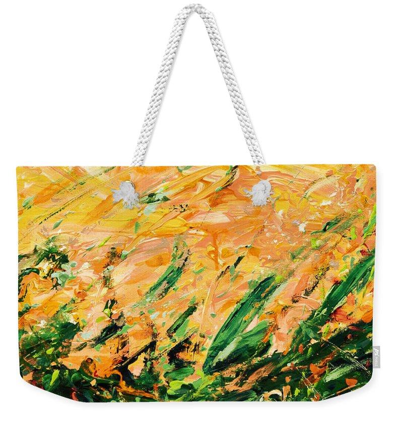 Bluegrass Weekender Tote Bag featuring the digital art Bluegrass Sunrise - Lemon B-right by Julie Turner