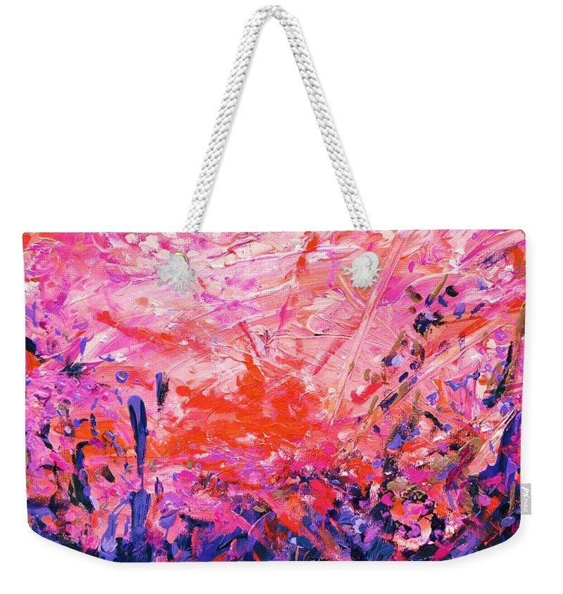 Bluegrass Weekender Tote Bag featuring the digital art Bluegrass Sunrise - Rose A-left by Julie Turner
