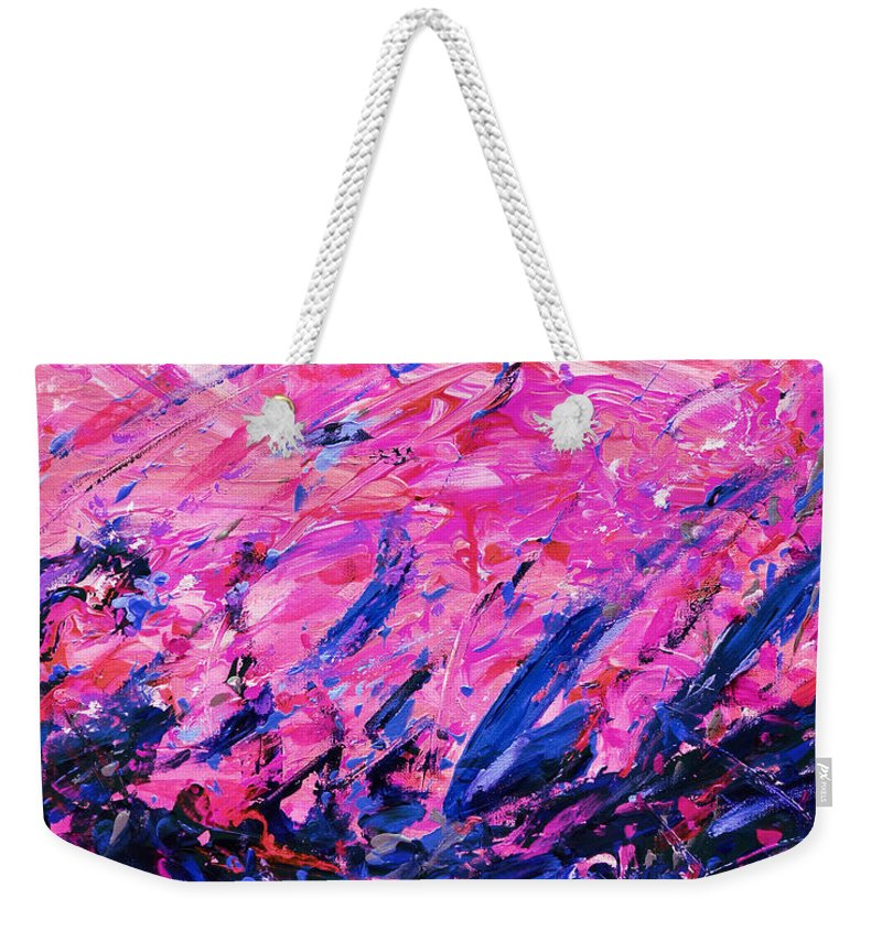Bluegrass Weekender Tote Bag featuring the digital art Bluegrass Sunrise - Violet B-right by Julie Turner