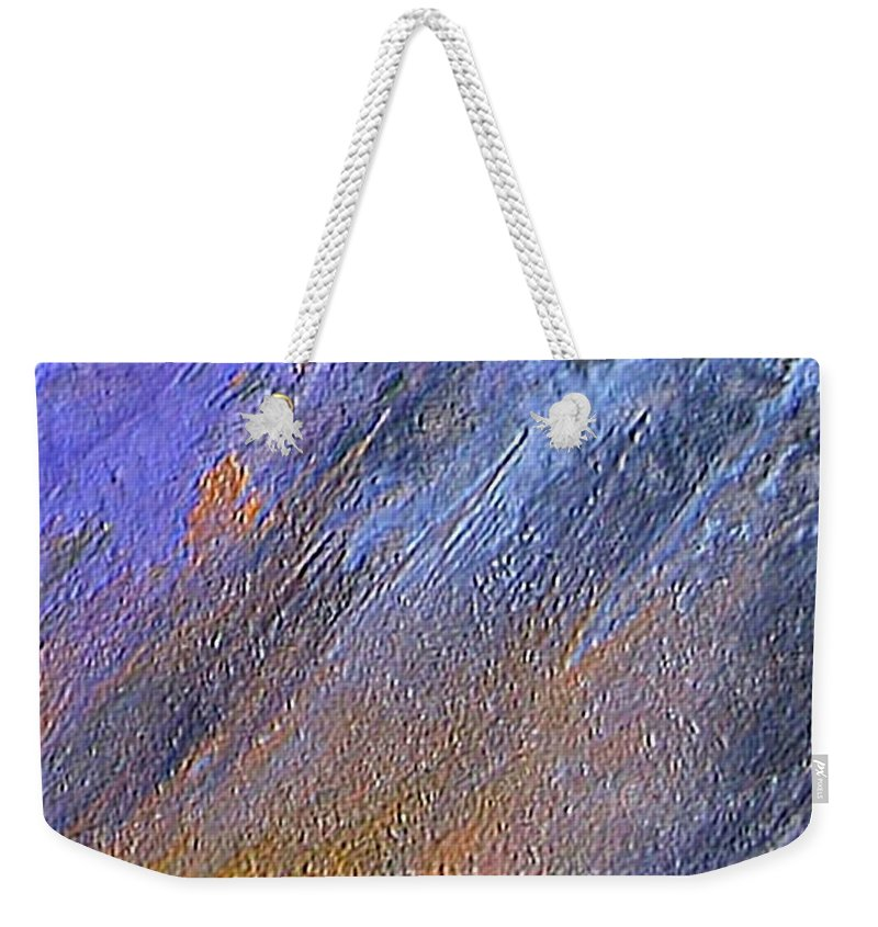 Abstract Weekender Tote Bag featuring the painting Blueness by Dragica Micki Fortuna