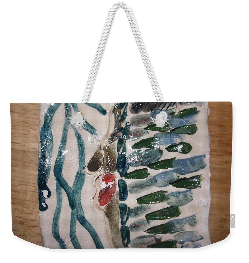 Jesus Weekender Tote Bag featuring the ceramic art Blues - Tile by Gloria Ssali