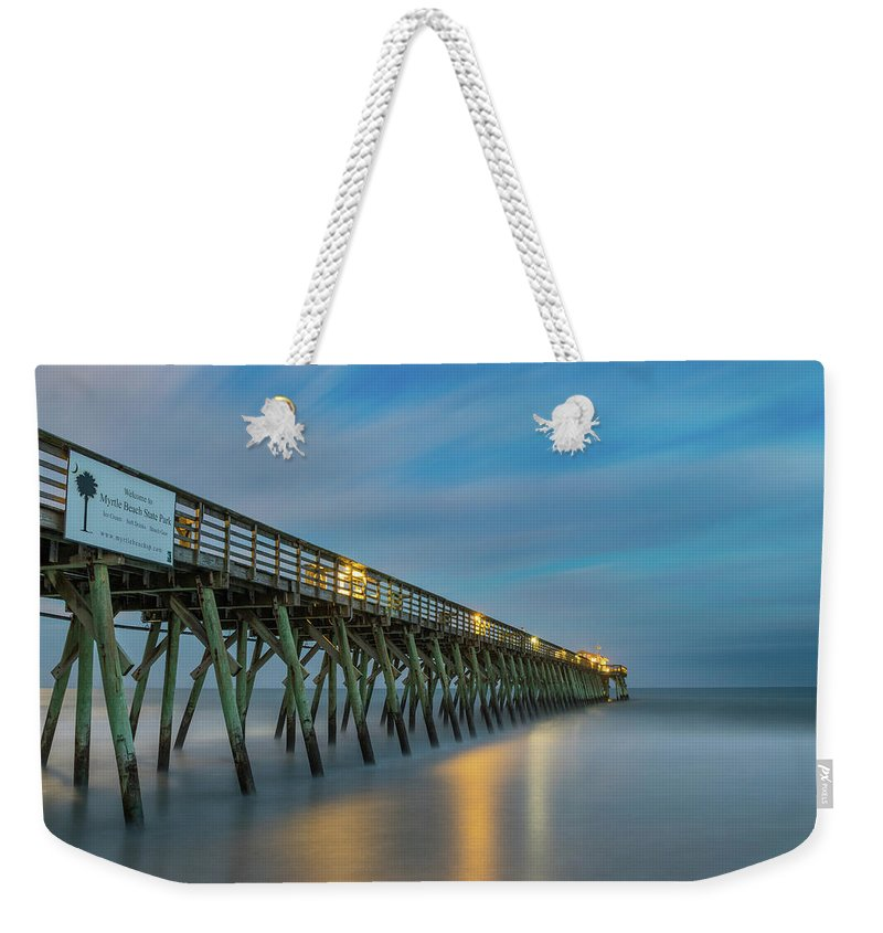 Myrtle Beach Weekender Tote Bag featuring the photograph Blues Beach by Charles Lawhon
