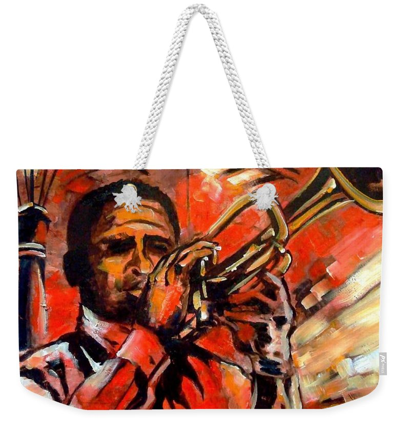 New Orleans Weekender Tote Bag featuring the painting Blues On Bourbon Street by Diane Millsap