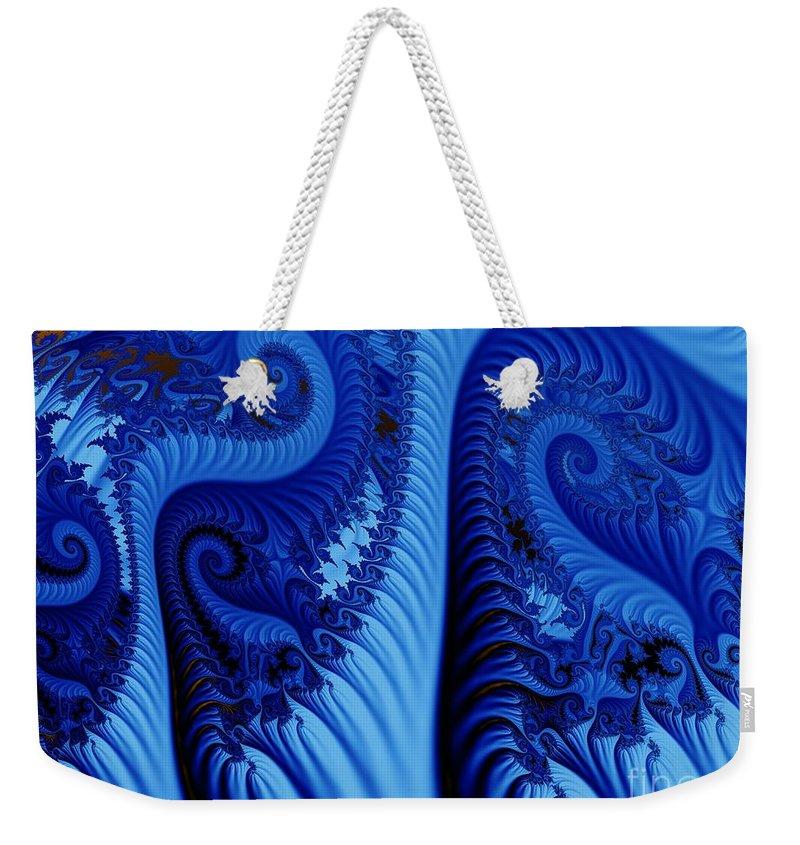 Fractal Art Weekender Tote Bag featuring the digital art Blues by Ron Bissett