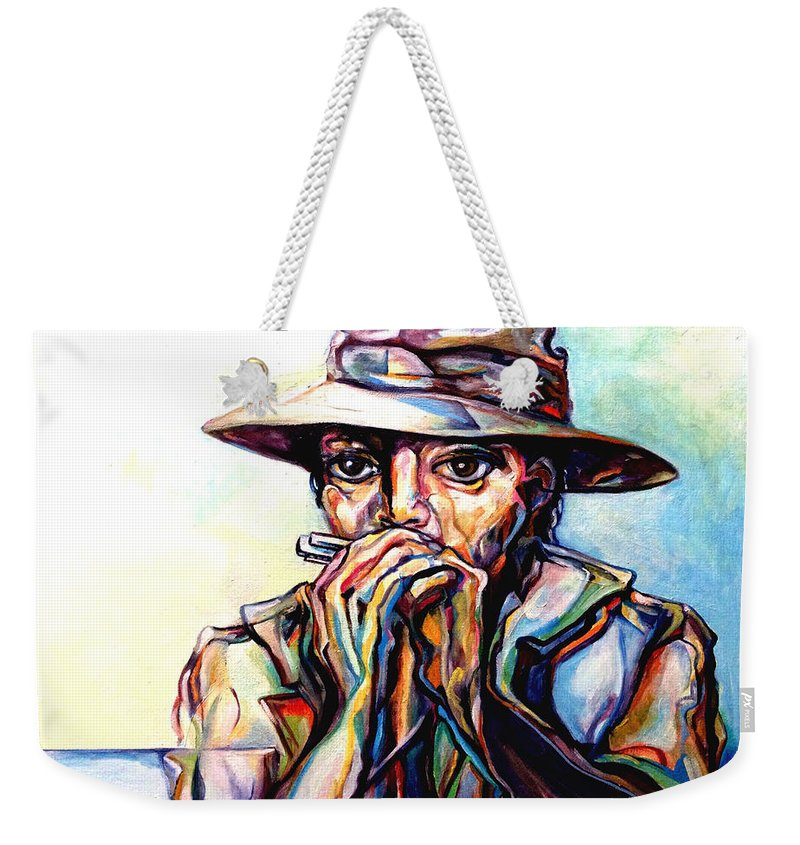 Lloyd Deberry Weekender Tote Bag featuring the painting Blues Traveler by Lloyd DeBerry