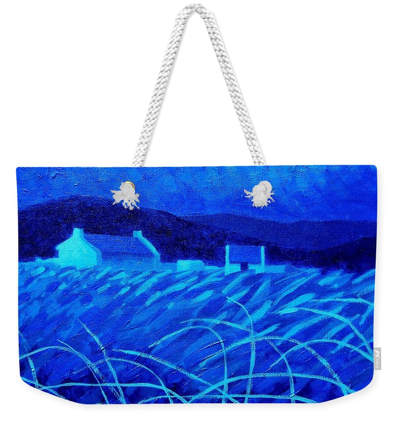 Modern Weekender Tote Bag featuring the painting Bluescape by John Nolan