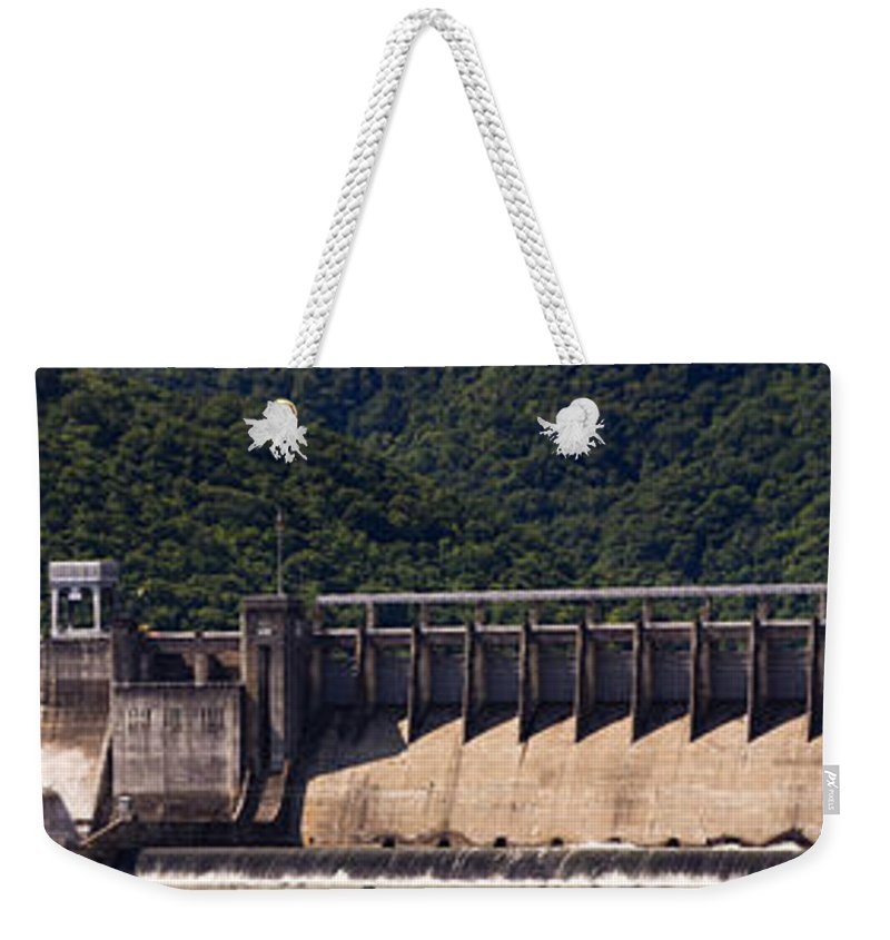 Bluestone Weekender Tote Bag featuring the photograph Bluestone West Virginia Dam Panorama by Teresa Mucha