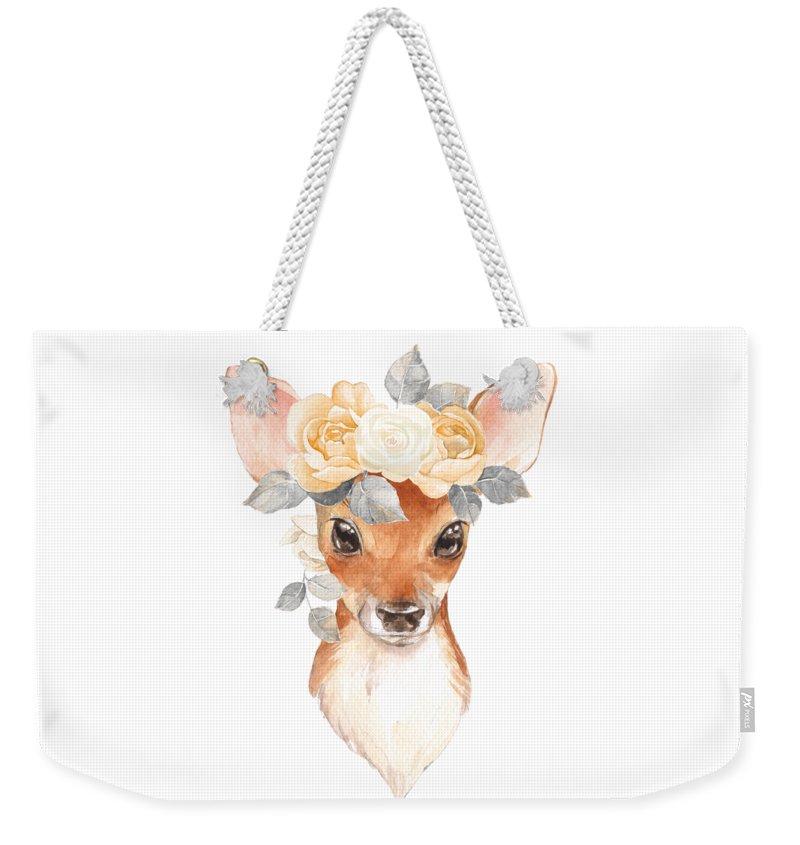 Deer Weekender Tote Bag featuring the digital art Blush Floral Deer by Pink Forest Cafe