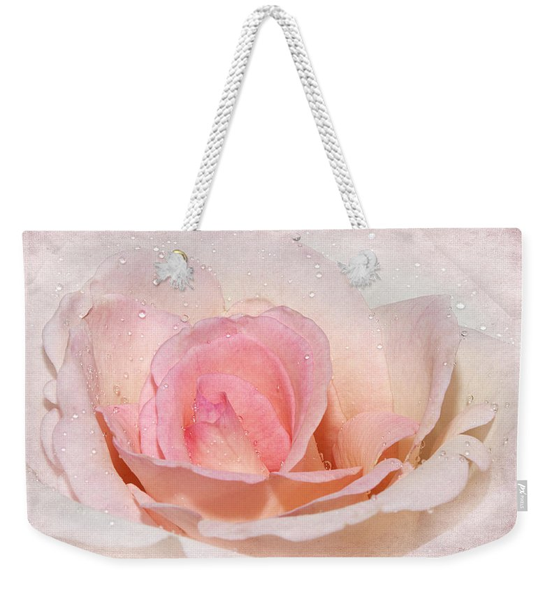 Rose Weekender Tote Bag featuring the photograph Blush Pink Dewy Rose by Phyllis Denton