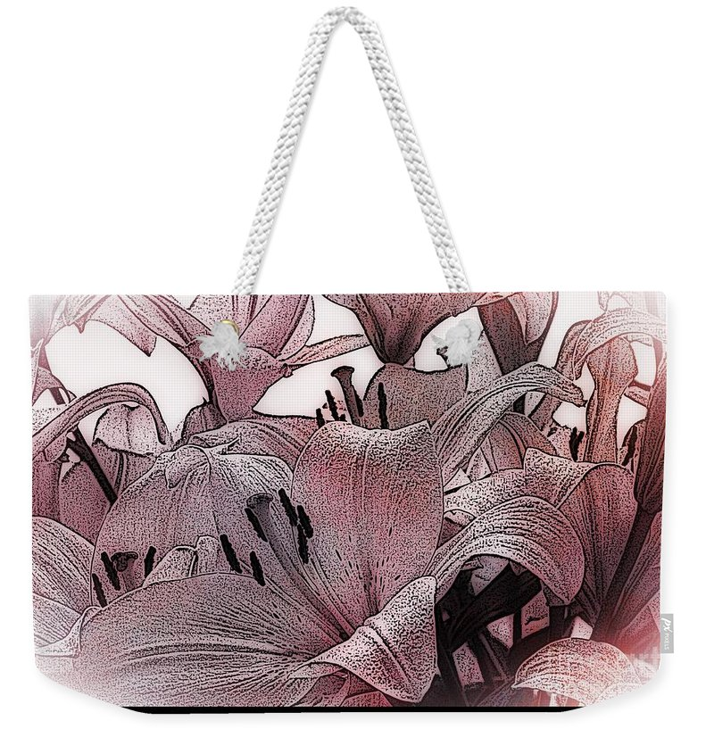 Blushing Lilies Weekender Tote Bag featuring the digital art Blushing Lilies by Elizabeth McTaggart
