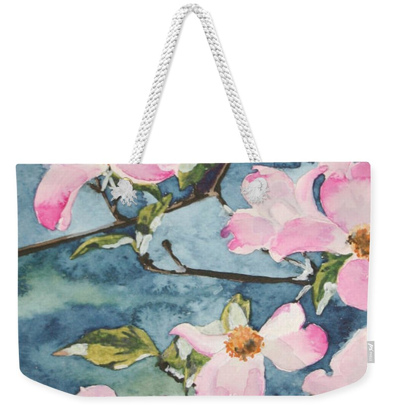 Flowers Weekender Tote Bag featuring the painting Blushing Prettily by Jean Blackmer