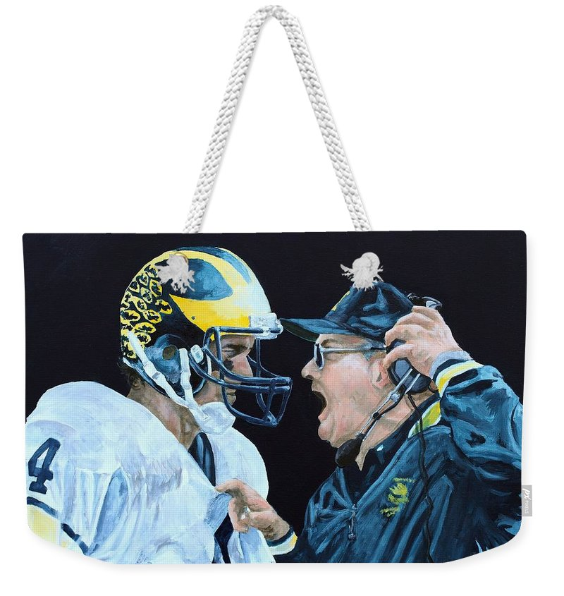 Michigan Weekender Tote Bag featuring the painting BO Knows by Travis Day