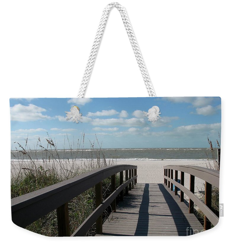 Boardwalk Weekender Tote Bag featuring the photograph Boardwalk To The Beach by Christiane Schulze Art And Photography