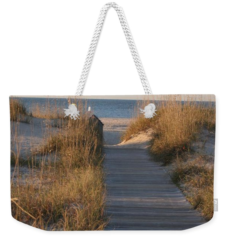 Boardwalk Weekender Tote Bag featuring the photograph Boardwalk To The Beach by Nadine Rippelmeyer