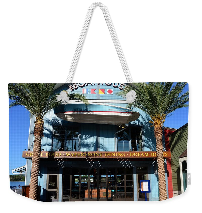 Boathouse Disney Springs Florida Weekender Tote Bag featuring the photograph Boathouse Front by David Lee Thompson