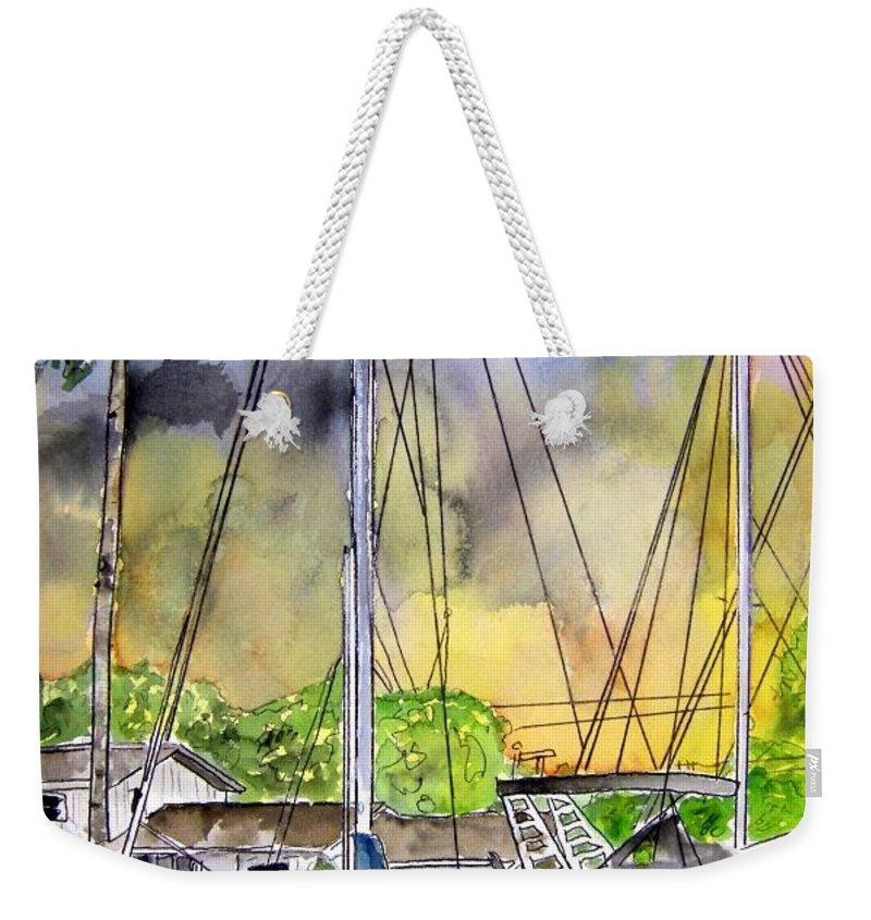 Marina Weekender Tote Bag featuring the painting Boat Marina by Derek Mccrea