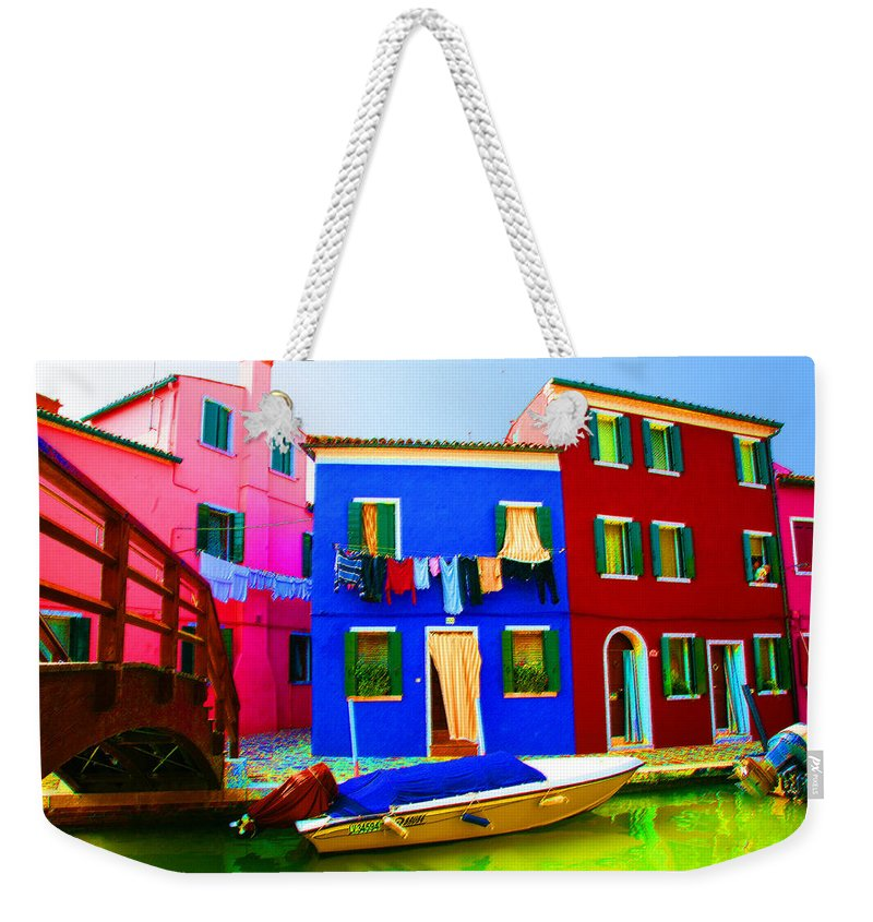 Burano Weekender Tote Bag featuring the pastel Boat Matching House by Donna Corless