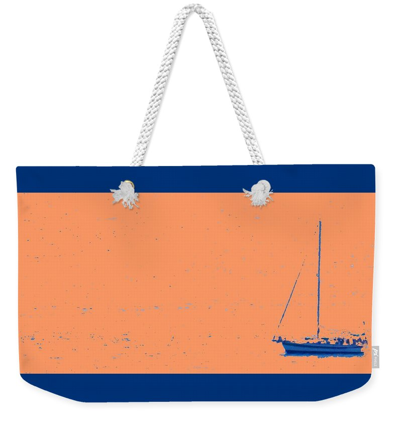 Boat Weekender Tote Bag featuring the photograph Boat On An Orange Sea by Ian MacDonald