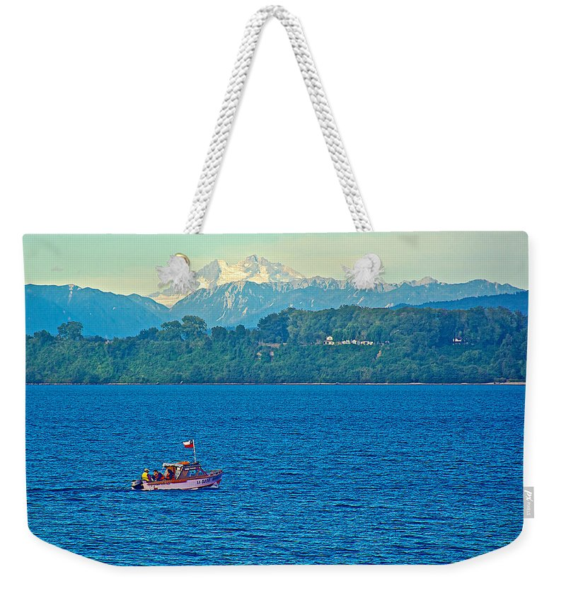 Boat On Llanquihue Lake From Puerto Varas Weekender Tote Bag featuring the photograph Boat On Llanquihue Lake From Puerto Varas-chile by Ruth Hager