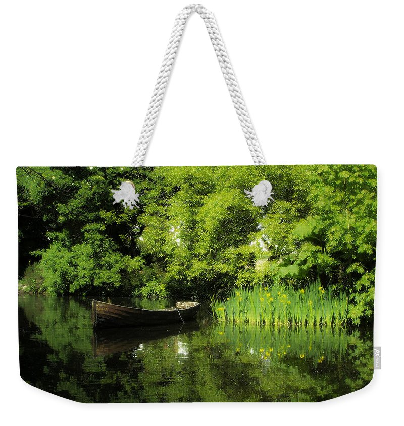 Irish Weekender Tote Bag featuring the digital art Boat Reflected On Water County Clare Ireland Painting by Teresa Mucha
