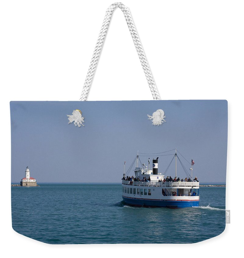 Boat Ride Chicago Windy City Tourist Tourism Travel Water Lake Michigan Attraction Blue Sky Weekender Tote Bag featuring the photograph Boat Ride by Andrei Shliakhau