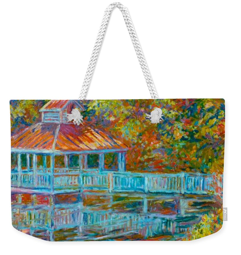 Mountain Lake Weekender Tote Bag featuring the painting Boathouse At Mountain Lake by Kendall Kessler