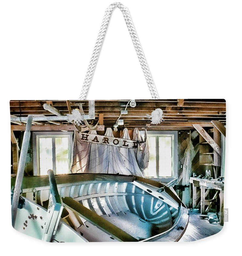 Boathouse Weekender Tote Bag featuring the photograph Boathouse by Heather Applegate