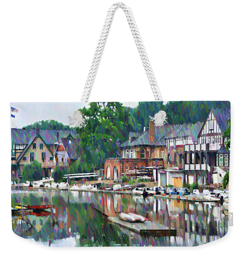 Boathouse Weekender Tote Bag featuring the photograph Boathouse Row In Philadelphia by Bill Cannon