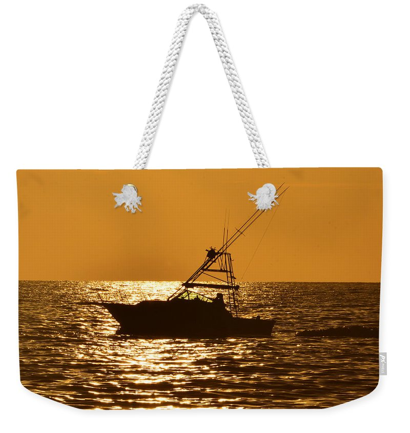 Boat Weekender Tote Bag featuring the photograph Boating And Fishing by David Lee Thompson