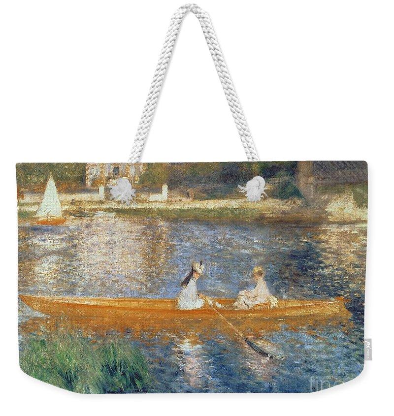 Boating On The Seine Weekender Tote Bag featuring the painting Boating on the Seine by Pierre Auguste Renoir