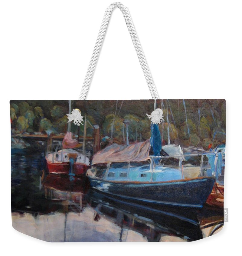 Lighthouse Weekender Tote Bag featuring the painting Boats At Dock Heriot Bay Inn by Nanci Cook