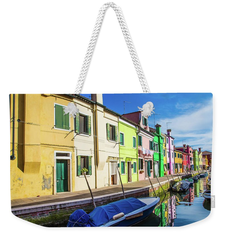Burano Weekender Tote Bag featuring the photograph Boats In Burano by Darryl Brooks