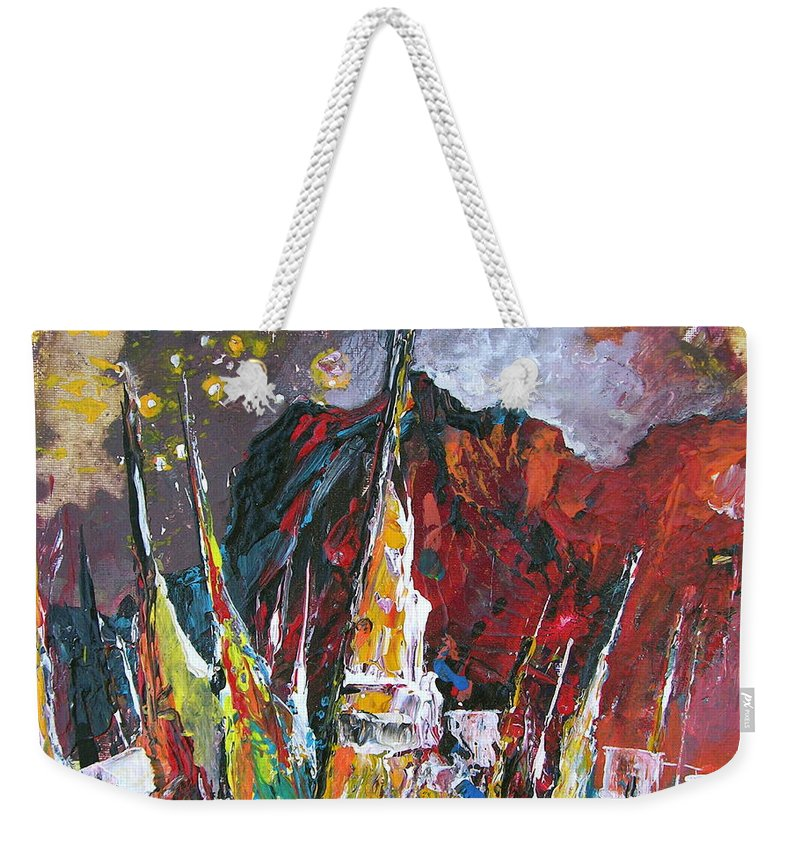 Boats Painting Seacape Spain Acrylics Calpe Costa Blanca Weekender Tote Bag featuring the painting Boats In Calpe 01 Spain by Miki De Goodaboom