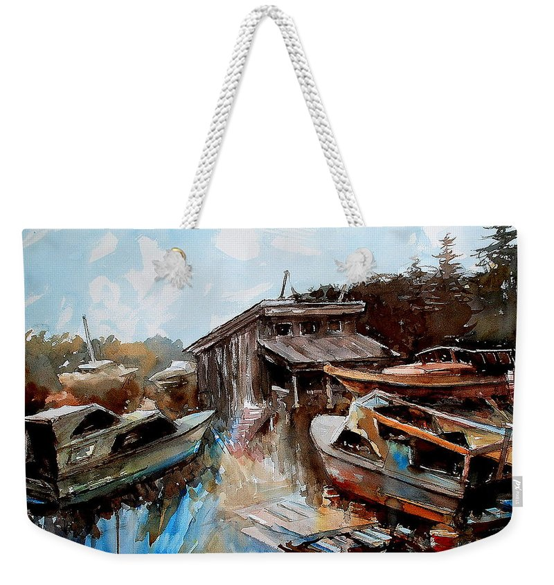 Boats House Water Weekender Tote Bag featuring the painting Boats In The Slough by Ron Morrison