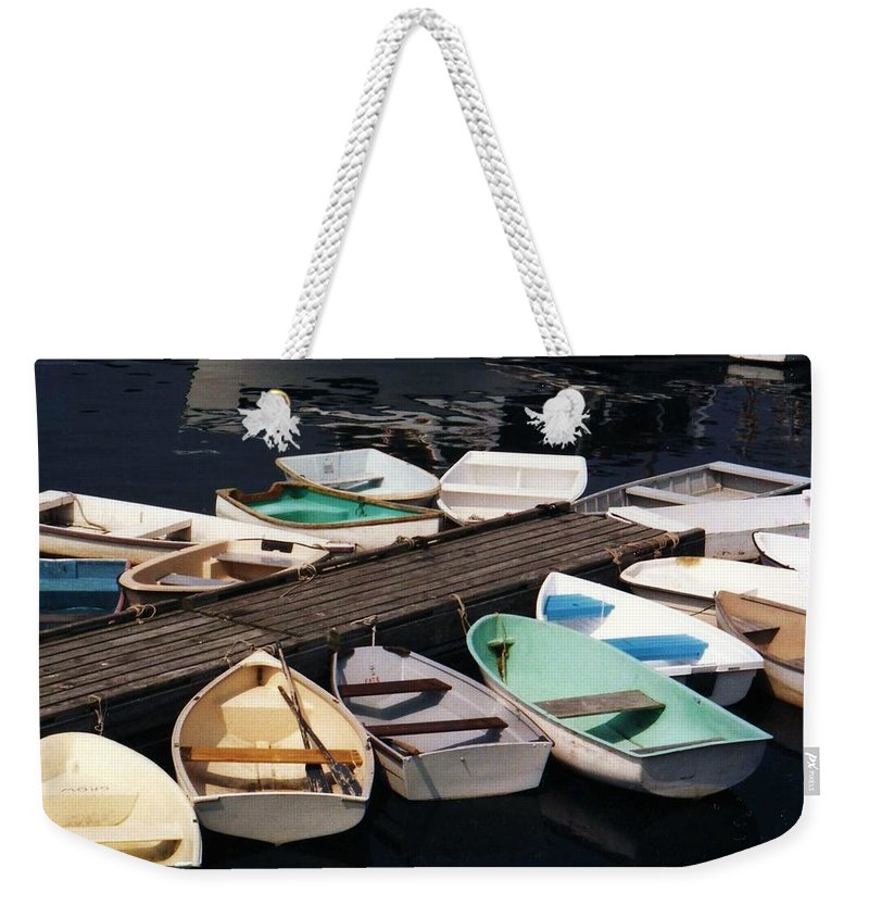 Boats Weekender Tote Bag featuring the photograph Boats In Waiting by John Scates