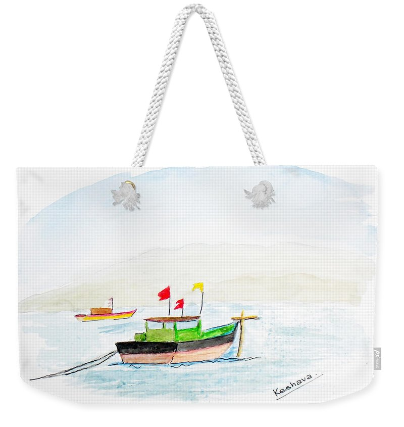 Boats Weekender Tote Bag featuring the painting Boats Near Khashid Beach by Keshava Shukla