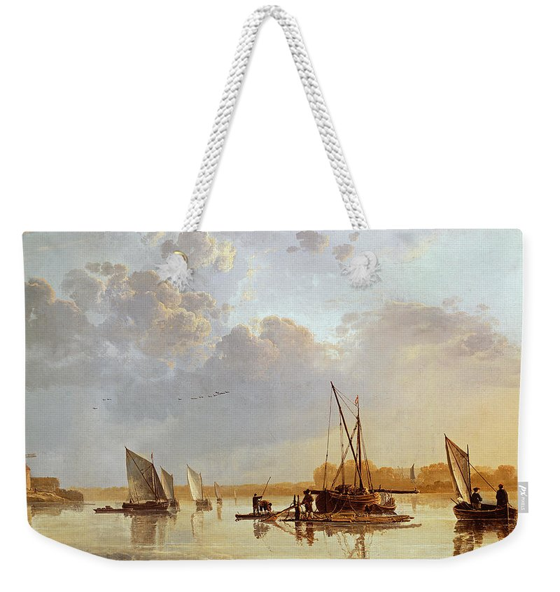 Boats On A River Weekender Tote Bag featuring the painting Boats On A River by Aelbert Cuyp