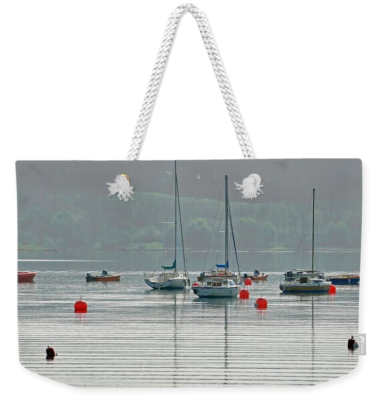 Spring Weekender Tote Bag featuring the photograph Boats On Carsington Water by Rod Johnson