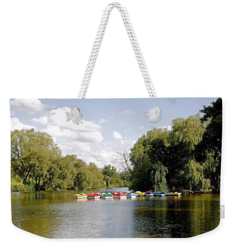 Markeaton Park Weekender Tote Bag featuring the photograph Boats On Markeaton Lake by Rod Johnson