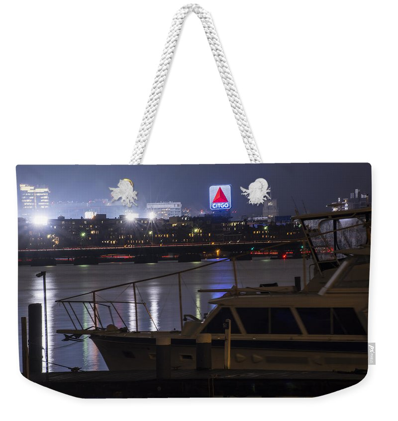 Boston Weekender Tote Bag featuring the photograph Boats On The Charles River Citgo Sign Boston Massachusetts by Toby McGuire