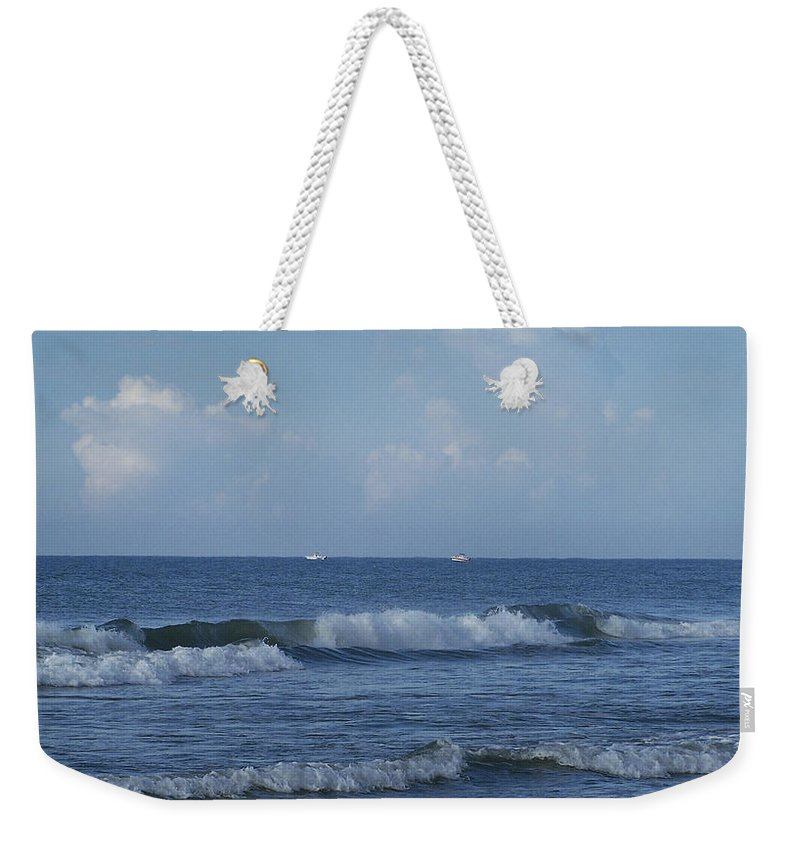 Ocean Weekender Tote Bag featuring the photograph Boats On The Horizon by Teresa Mucha