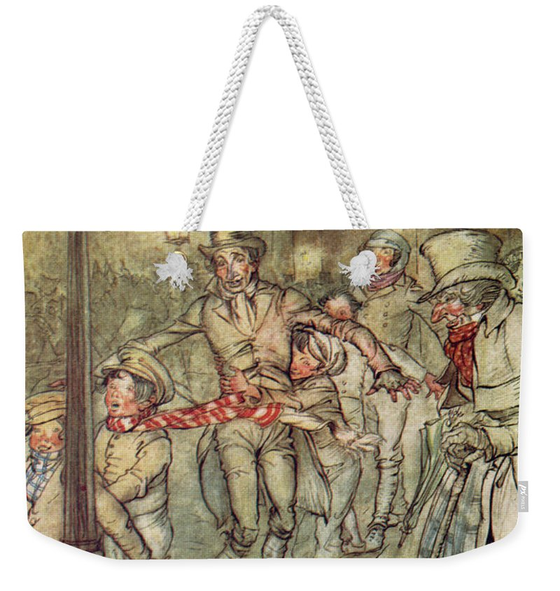 Bob Cratchit Weekender Tote Bag featuring the drawing Bob Cratchit Went Down A Slide On Cornhill by Arthur Rackham